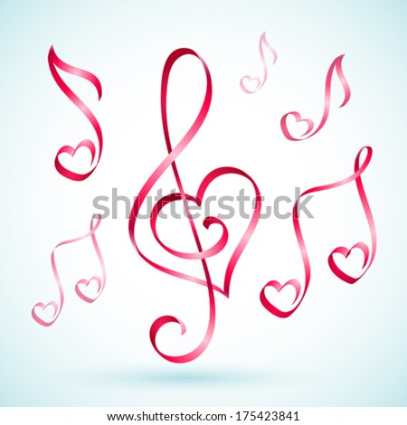 Vector illustration of musical note ribbons - stock vector