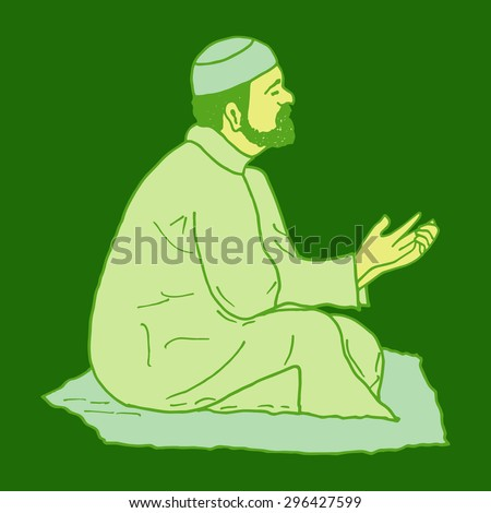 vector illustration of muslim offering namaaz. colorful hand drawn element for holiday design. doodle of a praying man. - stock vector