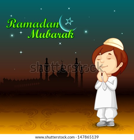 vector illustration of muslim offering namaaz for Eid - stock vector