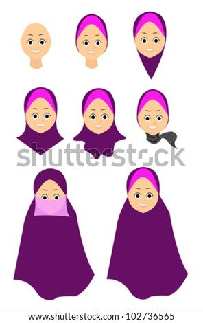Vector illustration of muslim women hijab fasion - stock vector