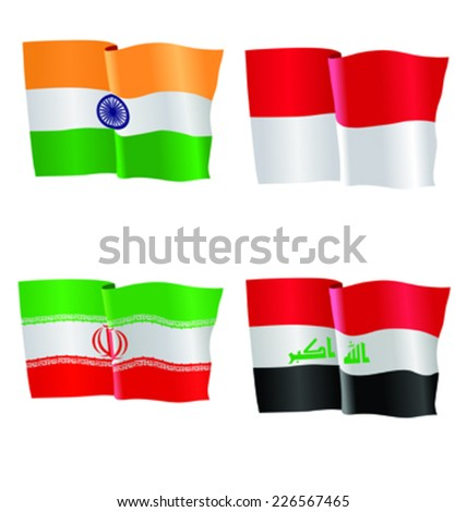 vector illustration of national flag of India, Indonesia, Iran, Iraq
