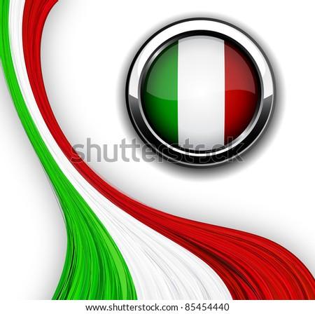 Vector illustration of national Italian flag. - stock vector