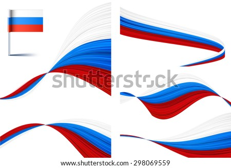 Vector illustration of national Russian flags.  - stock vector