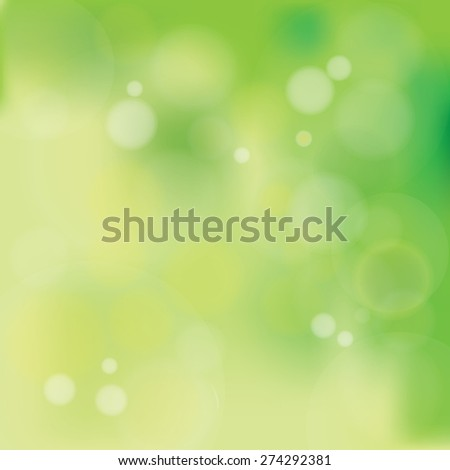 Vector illustration of Natural Pastel Greenish Bokeh Background with blurry white circles - stock vector