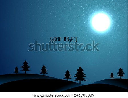 Vector illustration of Nature card with trees and moon - stock vector