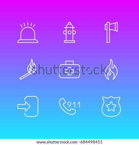 Vector Illustration Of 9 Necessity Icons. Editable Pack Of Ax, Badge, Water And Other Elements.
