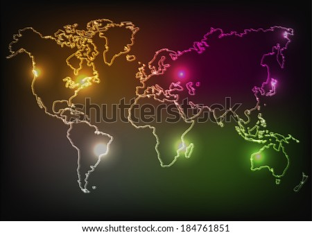 vector illustration of neon map of continents - stock vector