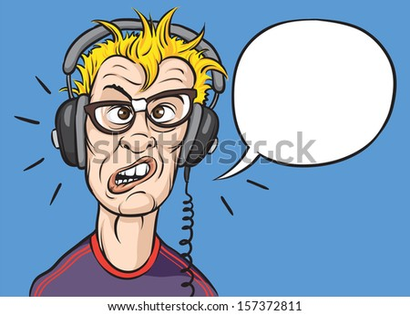 Vector illustration of nerd with headphones. Easy-edit layered vector EPS10 file scalable to any size without quality loss. High resolution raster JPG file is included. - stock vector
