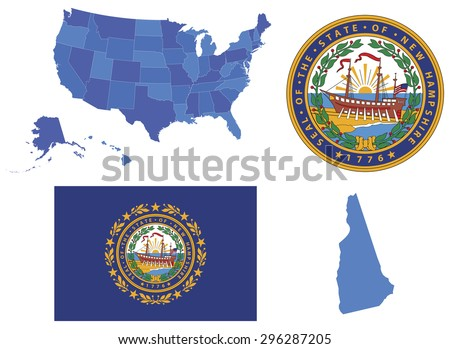 New Hampshire Flag Stock Images RoyaltyFree Images Vectors - New hampshire on the map of usa