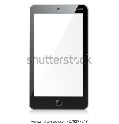 Vector illustration of new wide black smartphone with empty screen and square button - stock vector