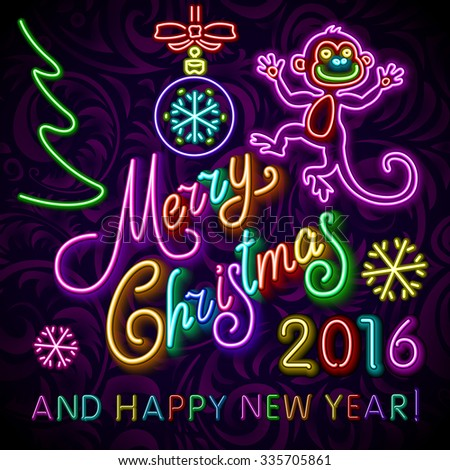 Vector Illustration of 2016 new year Outline neon light BAckground for Design, Website, Banner. Holiday party Element Template. Christmas tree toy Monkey. merry christmas and happy new year art - stock vector