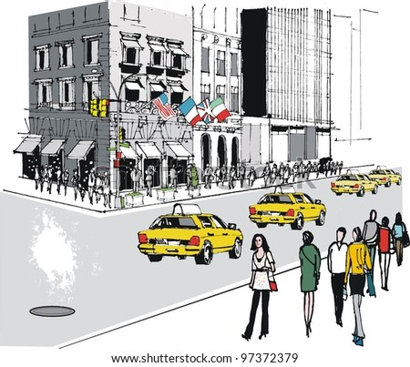 Vector illustration of New York street with traffic and people - stock vector
