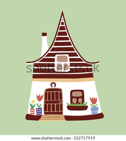 Vector illustration of nice rustic house - stock vector