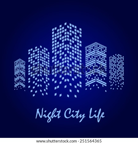 vector illustration of night city with skyscrapers - stock vector
