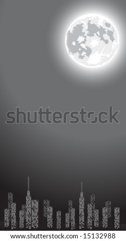 Vector illustration of night city with skyscrapers, full moon and copy-space