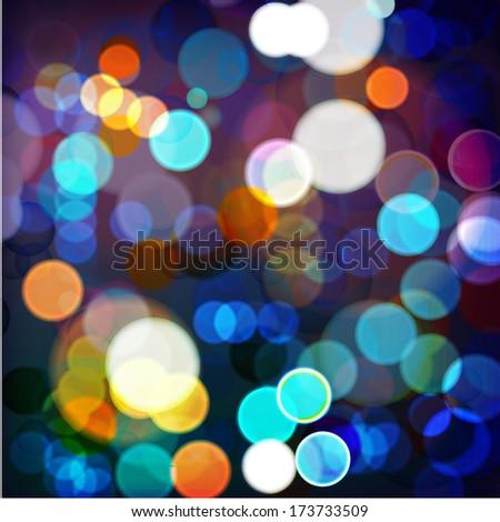 Vector illustration of night_Lights on blurred lights - stock vector