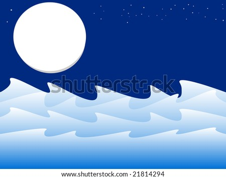 vector illustration of night ocean scene
