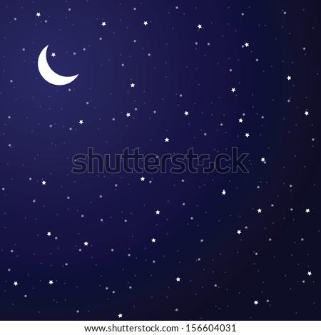 Vector illustration of night sky. - stock vector