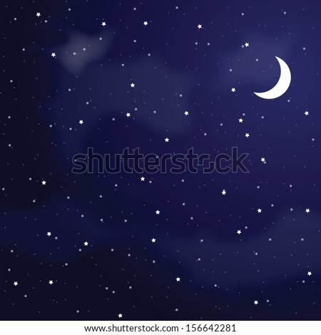 Vector illustration of night sky. - stock vector