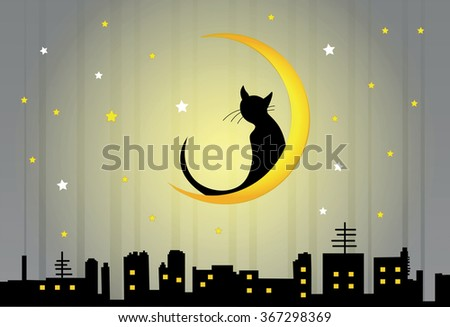 Vector illustration of night view of town and lonely cat sitting on the moon. Halloween background - stock vector