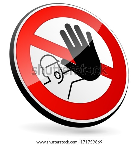 Vector illustration of no entry sign on white background - stock vector