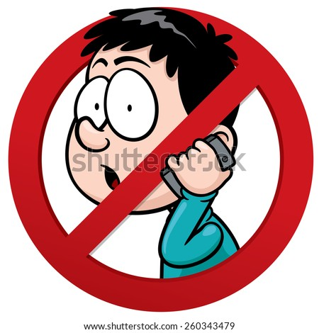 Vector illustration of No phone receiver sign - stock vector