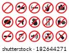 "Vector illustration of ""No"" signs for different prohibited activities. Isolated on white background. - stock"