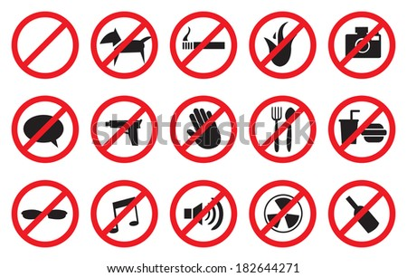 "Vector illustration of ""No"" signs for different prohibited activities. Isolated on white background. - stock vector"