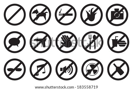 """Vector illustration of """"No"""" signs for different prohibited activities. Isolated on white background. - stock vector"""