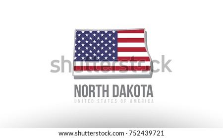 Vector Illustration North Dakota County State Stock Vector (Royalty ...