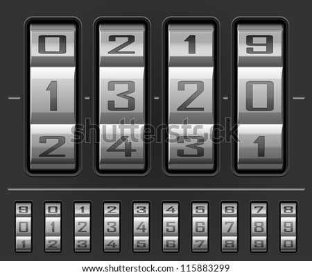 Vector illustration of number combination lock wheels with all ten numbers - stock vector
