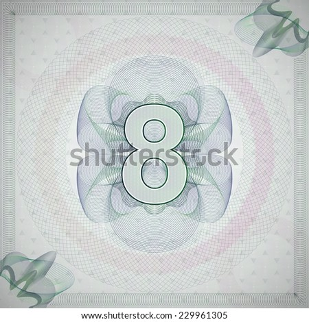 vector illustration of number 8 (eight) in guilloche ornate style. monetary banknote background