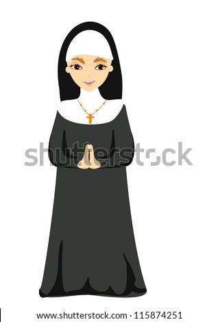 Vector illustration of nun - stock vector