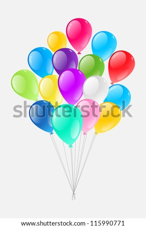 vector illustration of of bunch of colorful balloon against white background - stock vector