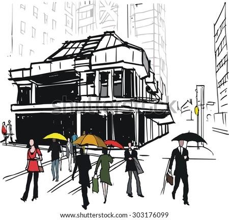 Vector illustration of office building and pedestrians in rain, Wellington New Zealand - stock vector