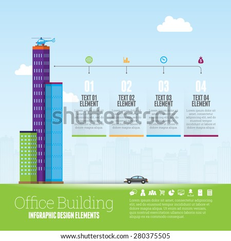 Vector illustration of office buildings infographic design element. - stock vector