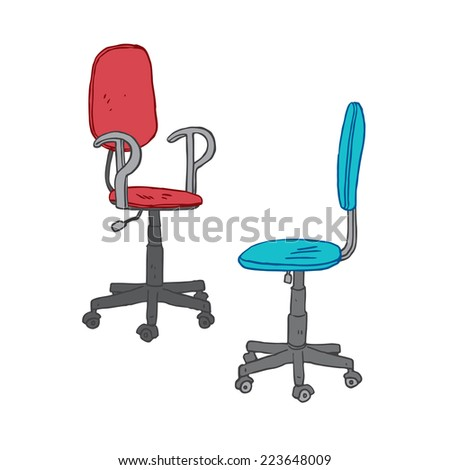 Vector illustration of office chair isolated on white - stock vector