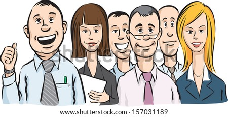 Vector illustration of office people crowd. Easy-edit layered vector EPS10 file scalable to any size without quality loss. High resolution raster JPG file is included. - stock vector