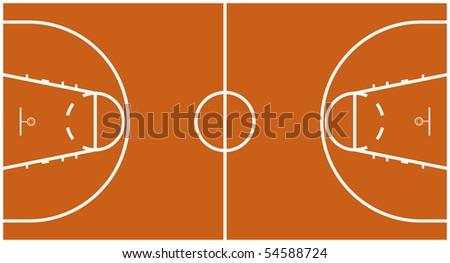 Vector Illustration of Official FIBA Basketball Court (editable strokes) - stock vector