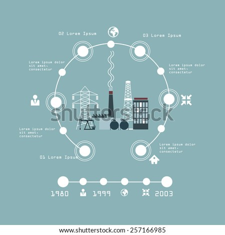 vector illustration of oil industry factory info-graphic - stock vector