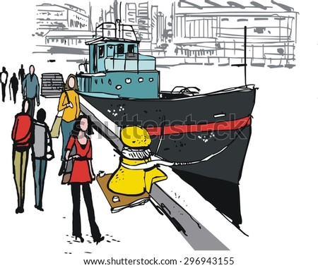 Vector illustration of old boat and pedestrians, Wellington, New Zealand.  - stock vector