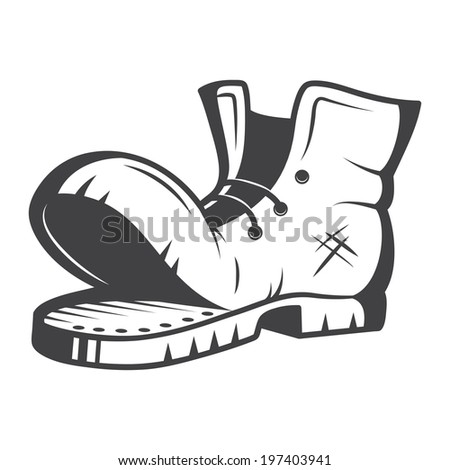 Vector illustration of old boot. Black and white - stock vector