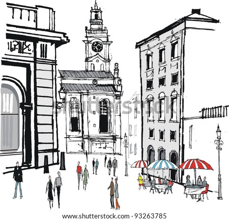 Vector illustration of old buildings and cafe in Stockholm, Sweden - stock vector