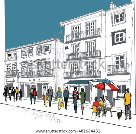 Vector  illustration of old buildings, pedestrians in France.