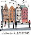 Vector illustration of old buildings, Stockholm, Sweden - stock vector