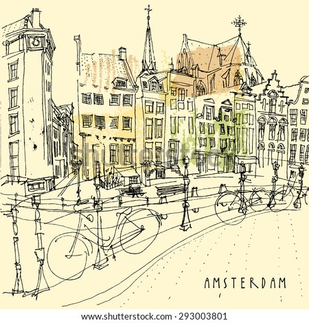 Vector illustration of old center with bicycles in Amsterdam, Holland, Netherlands. Line art. Freehand drawing with liner pen on paper. Quick travel sketch with hand lettering. Retro postcard template - stock vector
