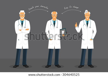Vector illustration of Old doctor in various poses - stock vector