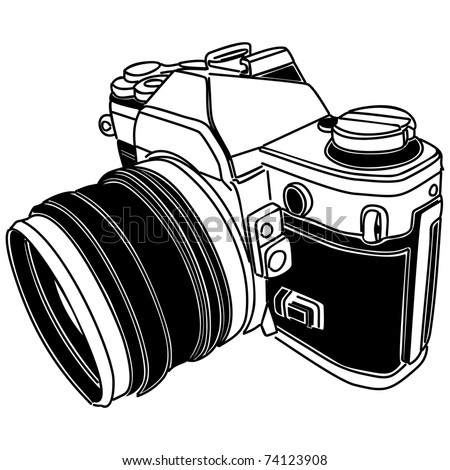 vector illustration of old-fashioned camera - stock vector