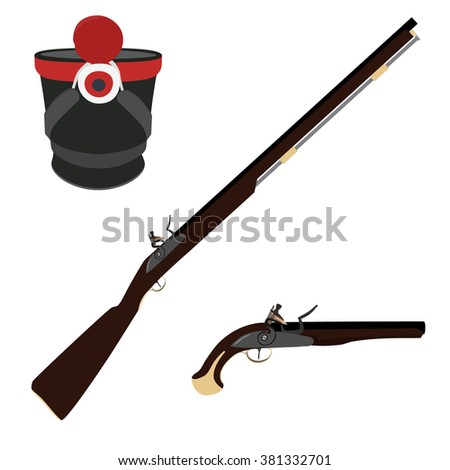 Vector illustration of old fashioned rifles, military hat  and vintage musket gun. Muskets or flintlock gun. Infantry shako - stock vector