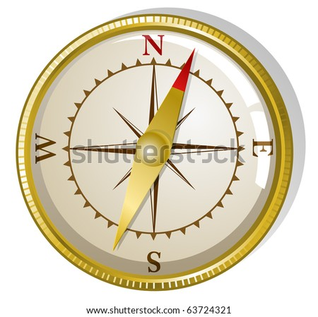 Vector illustration of old golden compass - stock vector